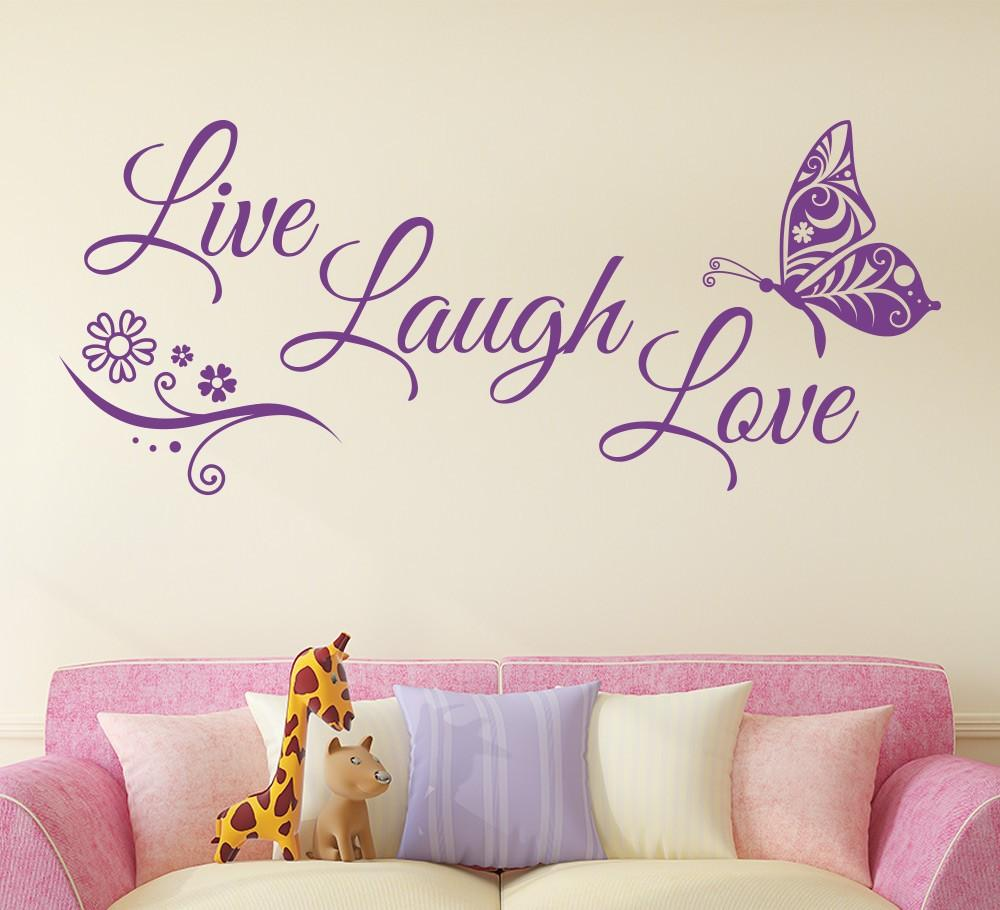 Live Laugh Love Butterfly Flower Wall Art Sticker Modern Wall Decals Quotes  Vinyls Stickers Wall Stickers Home Decor Living Room Quotes Wall Stickers  ...