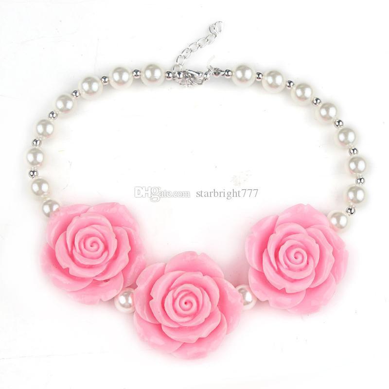 es nueva llegada niños boutique resina rosa flor collar niñas princesa grueso chicle collar para vestir envío gratis
