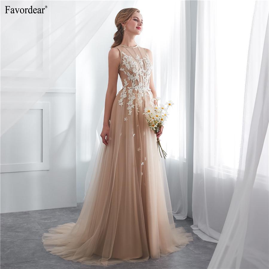b722981988 Trajes Para Casamento Atacado New 2019 Vestido De Noiva Simples Aline  Longos Vestidos De Noiva Branco Marfim Champanhe Rendas Apliques Vestido De  Noiva De ...