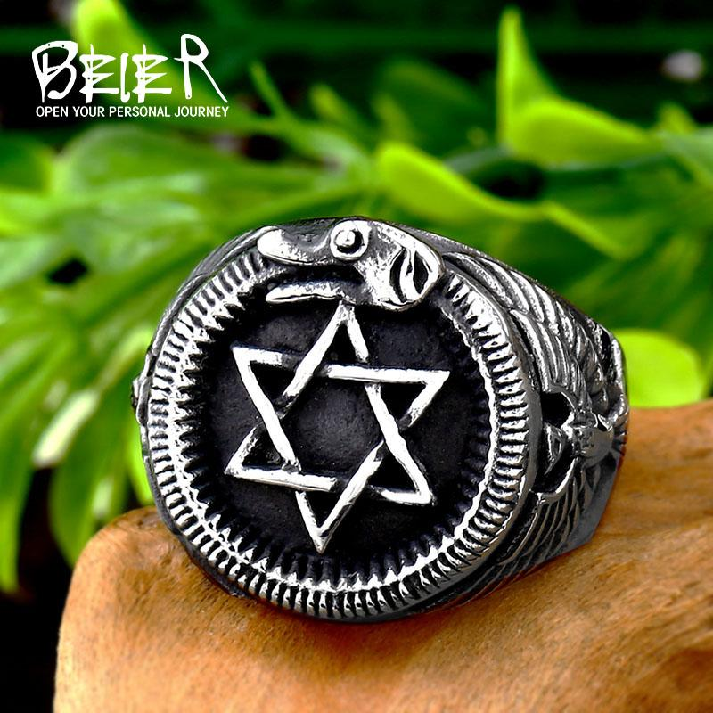 Beier 316L Stainless steel Norse Viking Pentagram Odin 's Symbol Dragon Runes Amulet bird animal Ring for men jewelry LR572