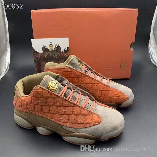 buy popular f9573 0feaf AT3102-200 With Box 2019 CLOT X 13s Low Terracotta Warriors Orange casual  Shoes New Released Mens Women casual Shoes With Box AT3102-200 si