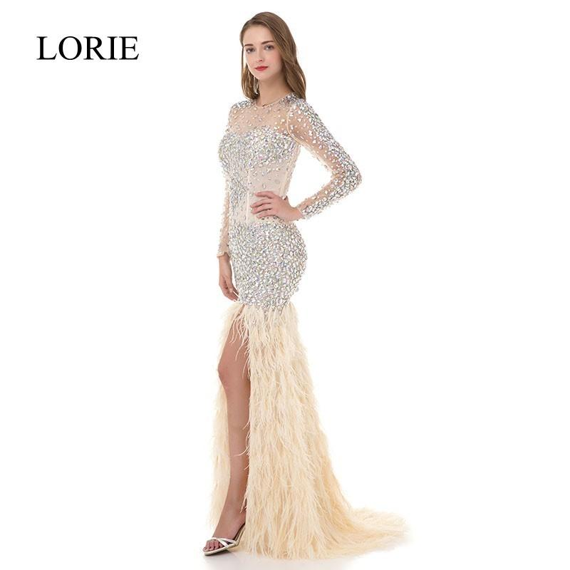 Pretty Women Ivory Mermaid Long Sleeve Prom Dresses 2018 LORIE Rhinestone Feathered Robe De Soiree Elegant Long Evening Dresses C18111601