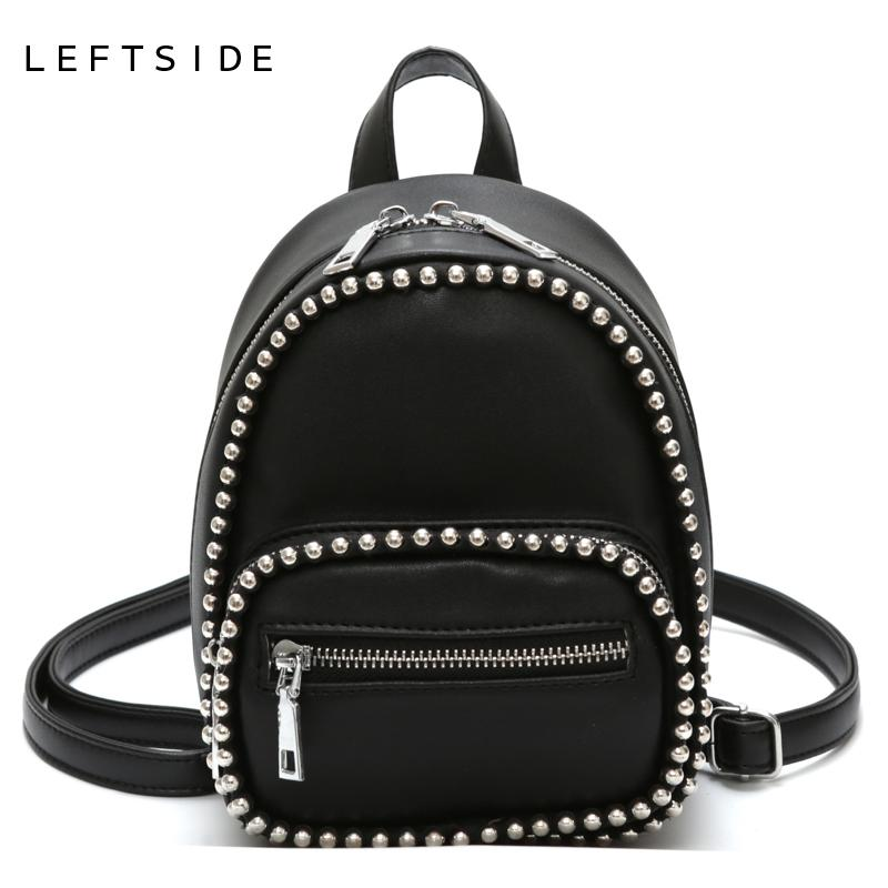 aa7662110395 LEFTSIDE Beading Mini Backpacks For Women 2018 PU Leather Backpack Small  Back Pack For Teenage Girls Chain Travel Bags Drop Ship Backpacks Cheap  Backpacks ...