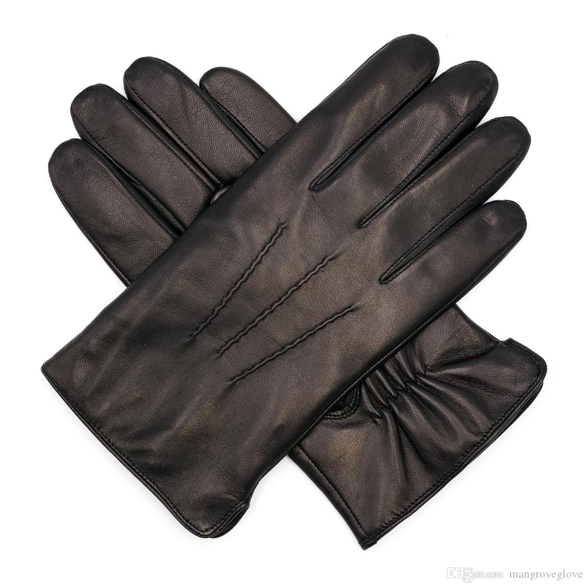78857eea7a723 2019 High Qulity Casual Mens Luxury Italian Sheepskin Leather Gloves  Vintage Finished 100% Wool Lined Winter Black From Mangroveglove, $27.13 |  DHgate.Com