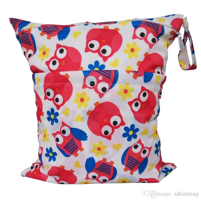 Baby Waterproof double Zippered Wet Dry Diaper Bag Owl Chevron Printed Wet and Dry Diaper Bags Wet Swimsuit Bag A046