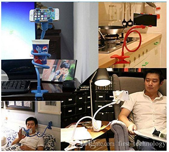 자동차 폰 홀더 유니버설 롱 암 게으른 휴대 전화 구즈넥 스탠드 홀더 유연한 침대 책상 클립 아이폰 삼성의 클립 브래킷