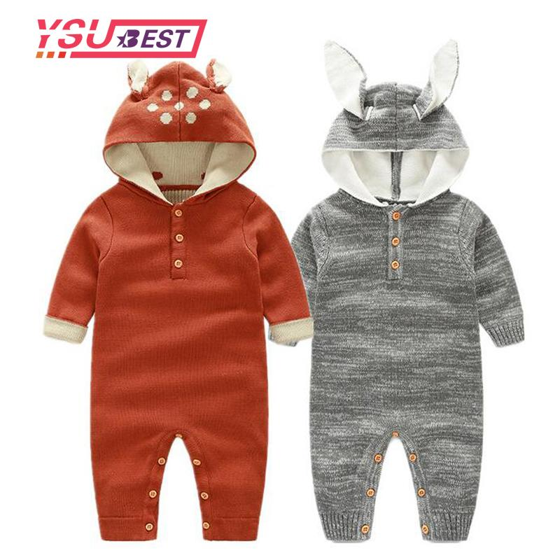 88c18fc7f7c3 2019 Newborn Baby Rompers Reindeer Ear Hooded Infant Jumpsuit Winter ...