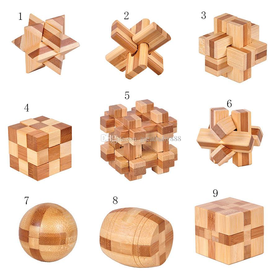 2018 novo Clássico 3D IQ Enigma Cérebro De Madeira brinquedos de Bambu Interlocking Puzzles Game 3D Kong bloqueio Ming 9 estilos C3407