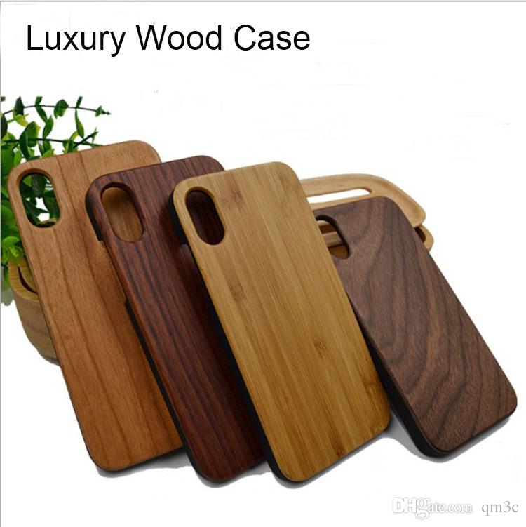 162201dd3a Welcome Custom Design Wood Case For iphone 10 X 7 8 6 6S plus Blank Wooden  Bamboo + PC Hard Back Cover Cell phone Case For Samsung S9 S8 S7