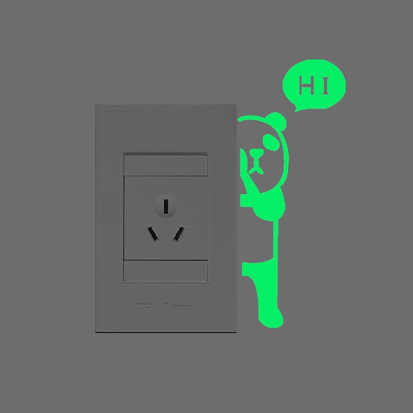 1 unid nueva luminosa de dibujos animados diy interruptor etiqueta etiqueta de la pared decoración fluorescente sala de estar sala de niños decoración para el hogar