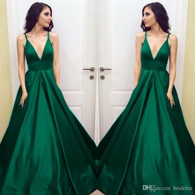 53763d440 Compre Más El Tamaño De Vestidos De Fiesta De Color Verde Esmeralda 2019  Correas Espaguetis A Line Vestido Formal Largo De Noche Vestido De Fiesta  Barato A ...