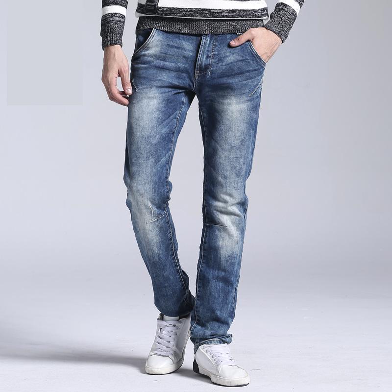 9bc481005366f Men's Classic Jeans Brand Large Size Straight Pantalon Homme Jean Slim  Distressed Design Biker Pants Fit Cheap Black Regula