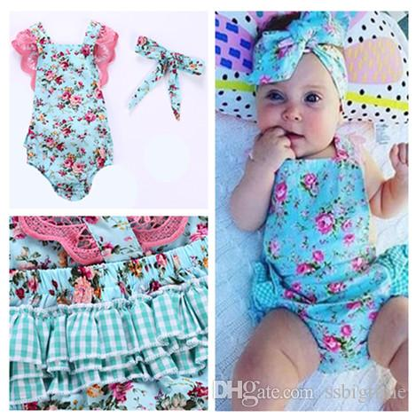 67861bfc60a6 2018 Girls Baby Rompers Lace Floral Toddler Romper Clothing Summer ...