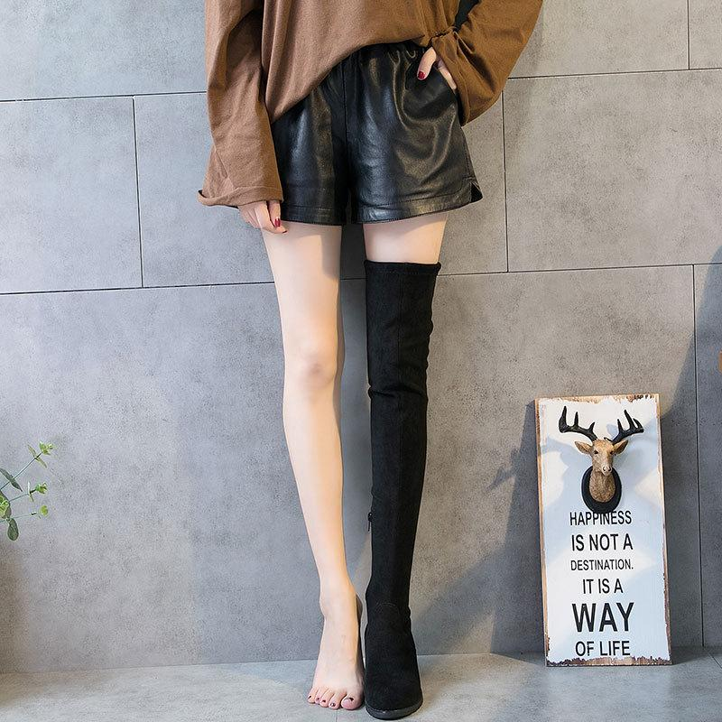 79ec4fab7a0 Women Autumn And Winter Elastic Over The Knee Boots Thin Chunky Heel Black  Comfortable Leather Boot Shoes Warmer Lady Long Booties Boot Socks Biker  Boots ...
