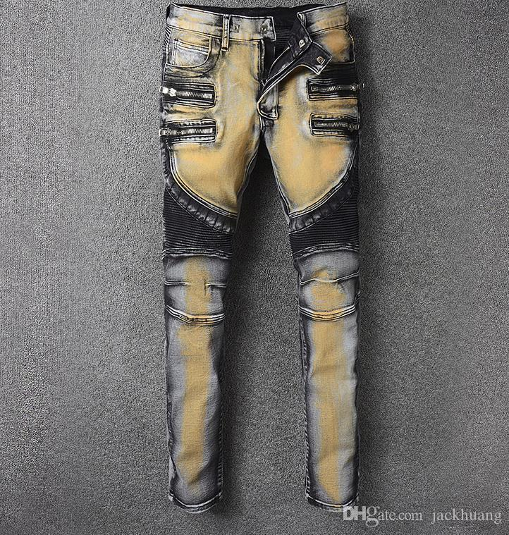 Compre Multi Cremallera De Los Hombres Pintados Biker Jeans Tie And ...