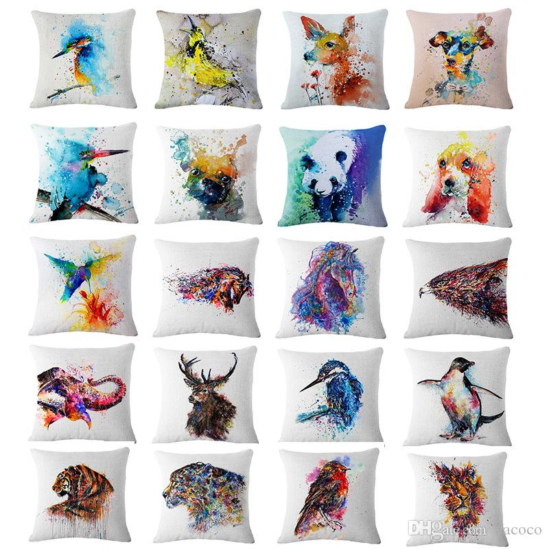 Fansinating 45*45cm 20 Styles Animal Cushion Covers Linen Bedroom Seat Decorative Pillow Home Decor Kitchen Accessories Party Decoration