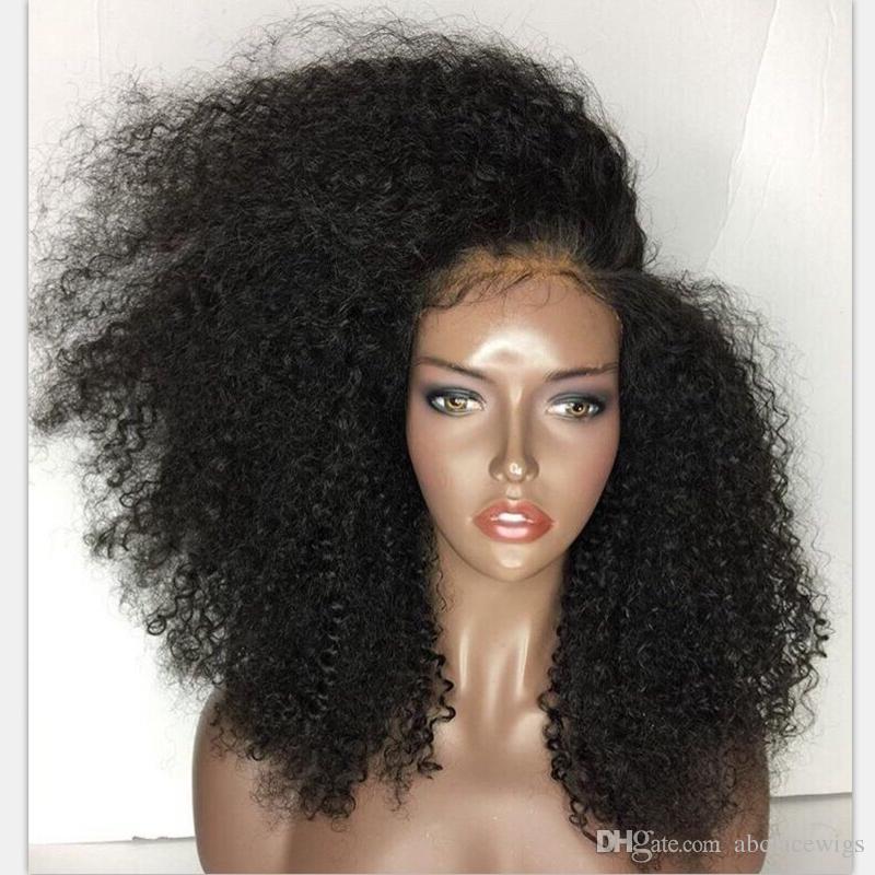 Haute Qualité Pas Cher Afro Kinky Bouclés Perruques Résistant À La Chaleur Synthétique Avant de Lacet Perruques Avec Naturel Hairline Sans Colle Noir Perruques Pour Les Femmes Noires