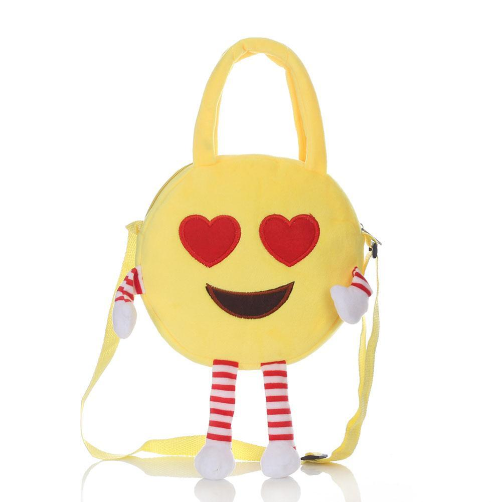 Cotton Kids Small Backpack Kawaii Round Cartoon Emoji Printing Bags