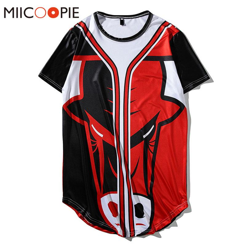 quality design 15107 7a413 New T-shirt Men Women lothing Bull Digital Printing Hip Hop Loose T Shirt  Male Top Quality Streetwear Men Baseball Jersey