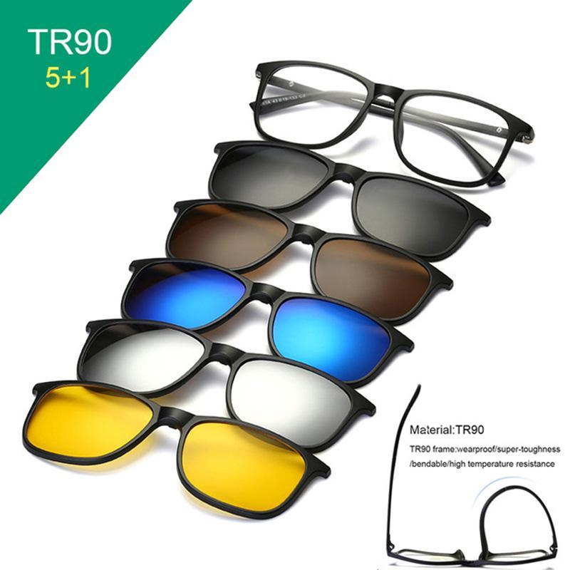 1e09fc91ed Compre 6 En 1 Gafas De Sol Clip En Gafas De Sol Marco Miopía Anteojos Gafas  Tr90 Marco Para Mujeres Hombres Lente Magnética 5 En 1 A $24.4 Del Boiline  ...
