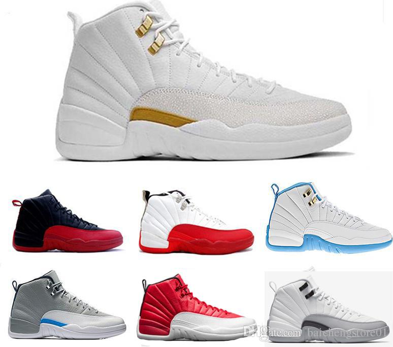 the latest 4487d 448a1 hot new 12 Basketball Shoes OVO White TAXI Flu Game gamma blue Playoff  flint French blue Cool Grey 12 classic Men Women Seankers