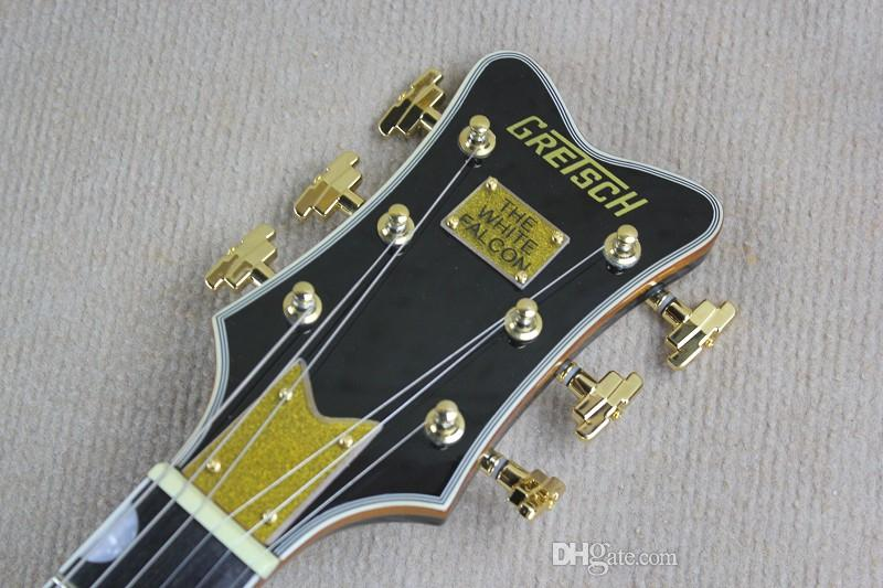 Factory Custom black Ebony fingerboard Falcon 6120 Semi Hollow Body Korean Tuners Jazz Electric Guitar With Black, can be customized