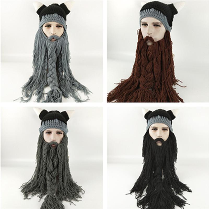 Men S Barbarian Vagabond Viking Beard Beanie Winter Horn Hats Fuuny  Halloween Pirate Cap Warm Knitting Women Men Unisex Crochet Caps HOT UK  2019 From ... 256752e482