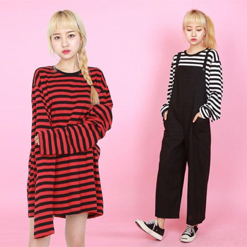 2018 Korean Style Long Sleeve Striped T Shirt Women Men Harajuku