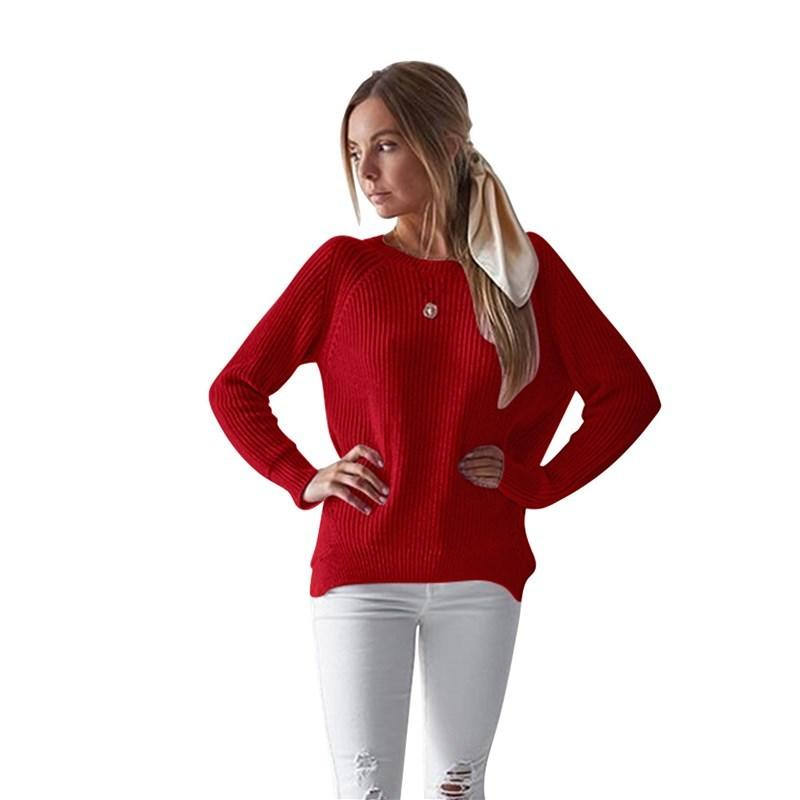 531165e67b4 Good Quality Solid Color Women s Red Sweater 2018 Casual Autumn And Winter  New Women s Long-sleeved O-Neck Hem Split Loose Sweater Online with   41.06 Piece ...