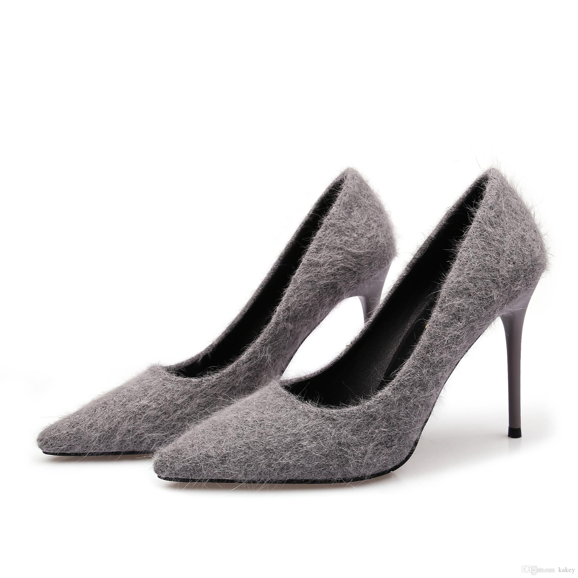 c4f8ee7319e Feather Shoes Sexy Temperament High-heeled Shoes Fine with European And  American Wind Tip High-heeled Commuter New Shoes Sexy Online with   23.96 Piece on ...