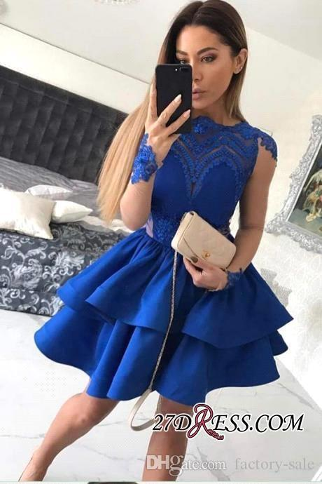 2019 New Royal Blue Short Homecoming Dresses Lace Applique Jewel Neck Long Illusion Sleeves Mini Short Prom Party Gowns Gowns Cheap