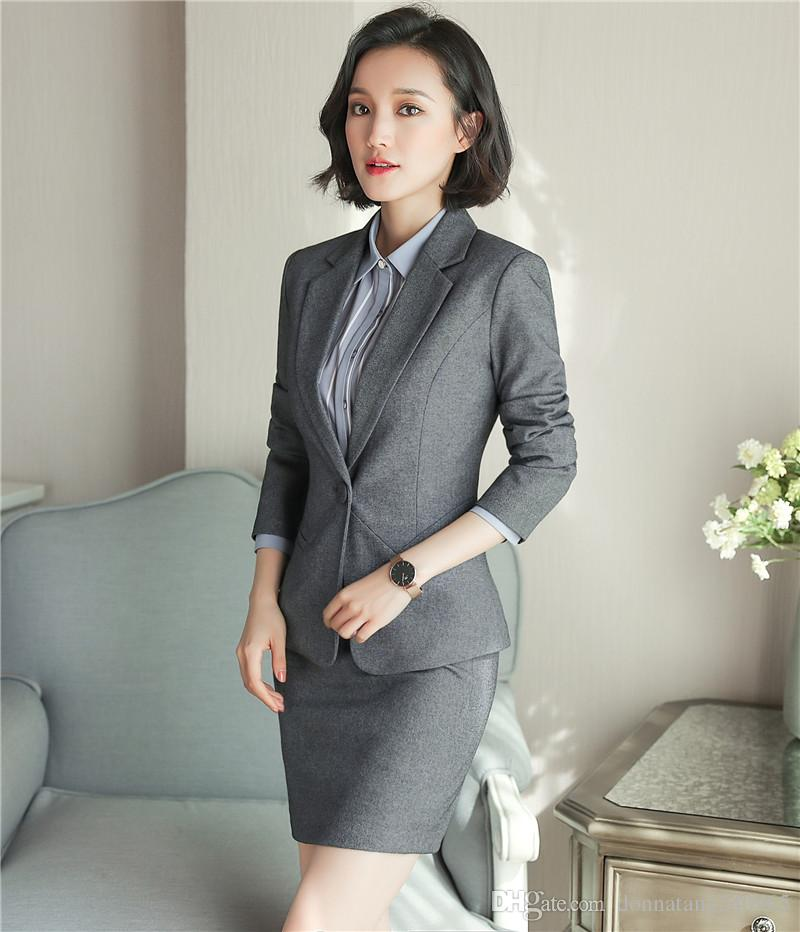 a26f8054fe0 2019 Set Ladies Office Skirt Suit New 2018 Spring Business Formal OL Uniform  Style Women Skirt And Jacket From Donnatang240965
