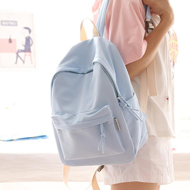 Simple Fresh Design Pure Color Women Backpack Fashion Girls Leisure Bag  School Student Book Bag Teenager Travel Young Backpacks For Kids Backpack  With ... cc27fbb0a5