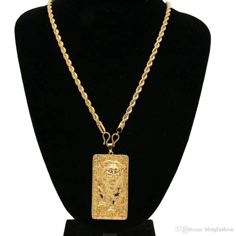 Gran León Patrón Colgante Collar de Cadena de Cuerda 18k Oro Amarillo Lleno Sólido Joyería Para Hombre Estilo Hip Hop