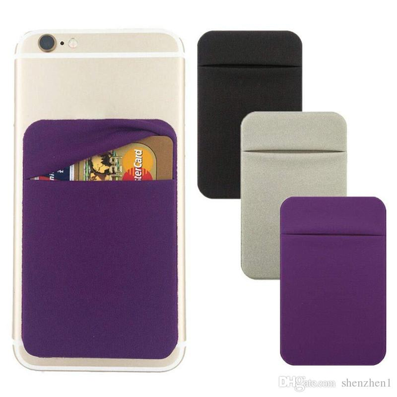 66dd32b42da2 Phone Back Credit Card Holder Stick on Wallet Discreet ID Lycra Spandex  Cards Sleeves 3M Adhesive Gadget cellphone Case SCA492