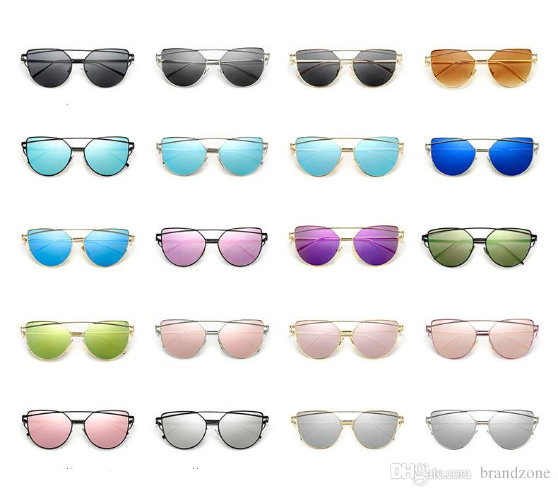 Brand Dazzling Color Ultra-light Metal Ladies Sunglasses New Fine Workmanship Reflective Resin Lenses Multi-colors High Rate Of Perspective