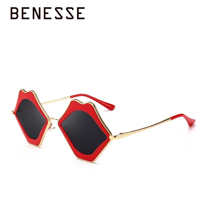 ec7c60bcd5fb 2018 New European Go A Show Lip Shape Sunglasses Personality Big Mouth  Frame Ma'am Fashion Ladies Sun Glasses UV400 Pink Red