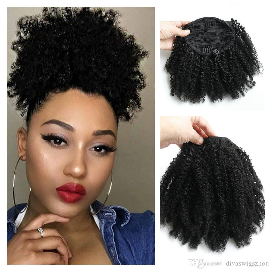 Natural Ponytail Hairpieces 120g African American Afro Short Kinky