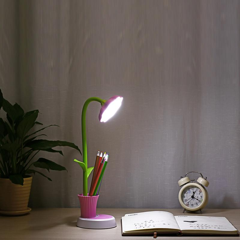 Sun Flower Desk Lamps Rechargeable Led Table Lamp Folder Sun Flower Shape With Phone Holder With Pencil Holder Pink Green