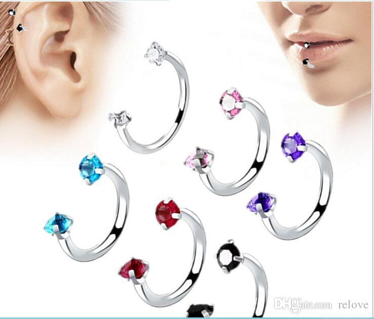 Double Headed U shaped Zircon horseshoe ring piercing jewelry Lip ring CZ Gem 316L Stainless Steel
