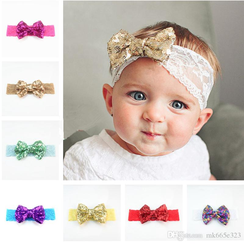 835fa240ceb1e Baby Hair Bows 11cm Bow Sequin Headbands Lace Hairband Girls Infant  Accessories Fashion Princess Headdress Hair Accessories For Baby Girls  Toddler Hair ...