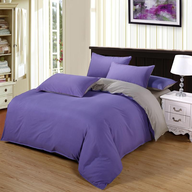 Light Purplegray Bedding Set Printed Bed Linens Twin Queen King