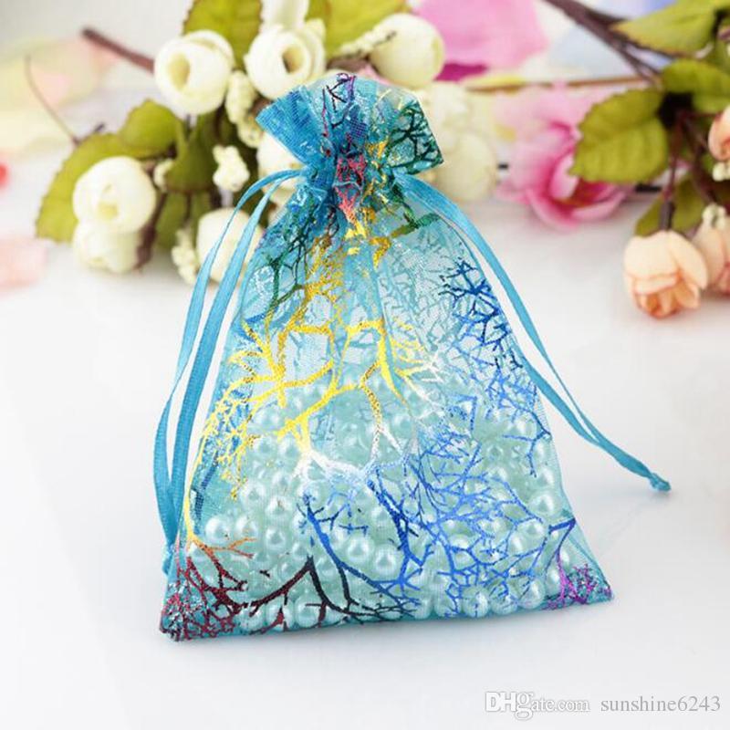 100 Adet Mavi Mercan Moda Organze Takı Hediye Kılıfı Çanta 7x9 cm İpli Çanta Organze Hediye Şeker Çanta DIY Hediye Çanta