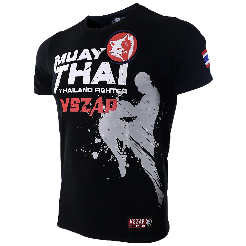 851df16a6085 Compre Vszap Muay Thai MMA Camisetas De Algodón Camiseta De Manga Corta  Ocio Casual Ataque De Rodilla Tops Bandera Tailandesa Ropa De Hombre A   40.11 Del ...