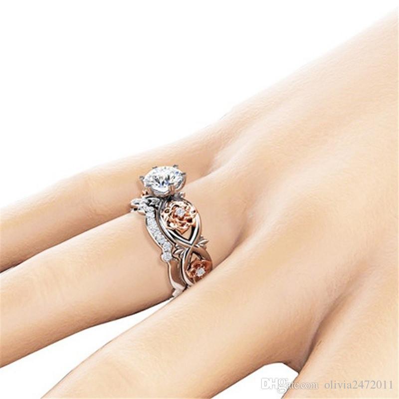 Argento placcato Set anelli di nozze di cristallo Lovers Regali anelli di strass le donne Anello di fiori rosa SJ
