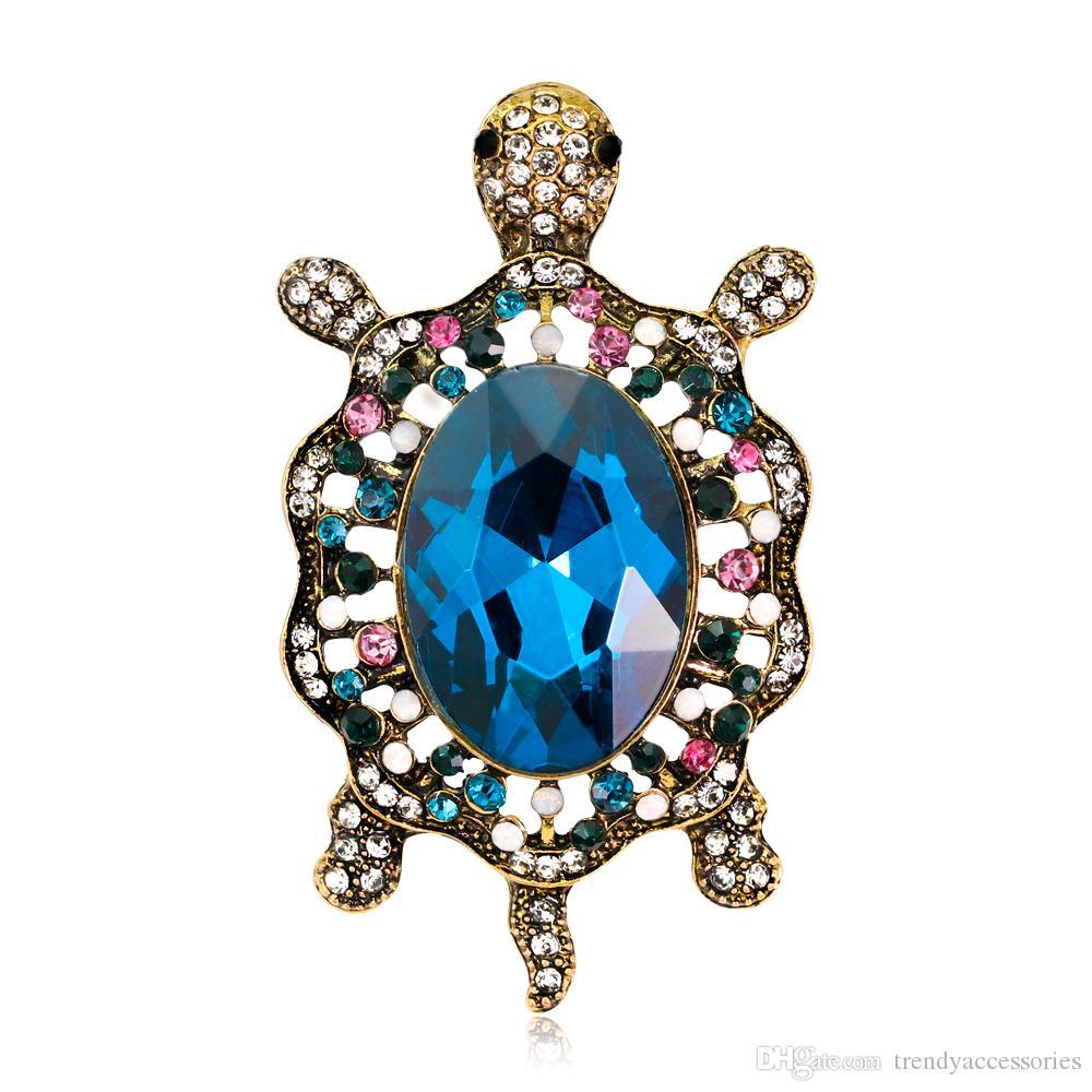 Vintage Style Tortoise Crystal Brooch Turtle Rhinestone Pin Classic Woman Animal Decorative Jewelry