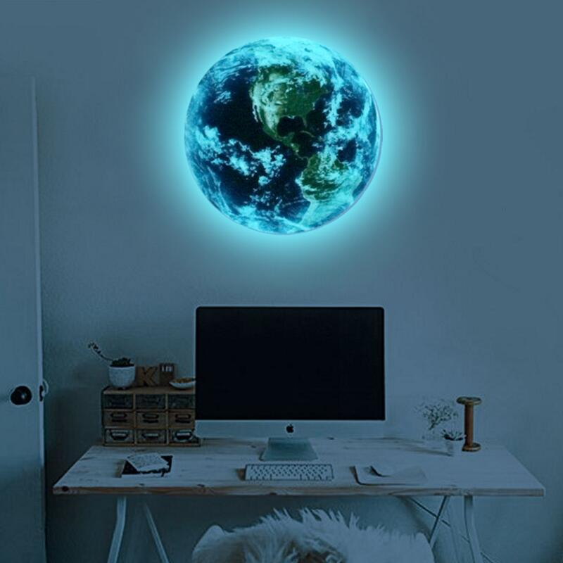 Luminous Blue Earth Cartoon Diy 3d Wall Stickers For Kids Rooms