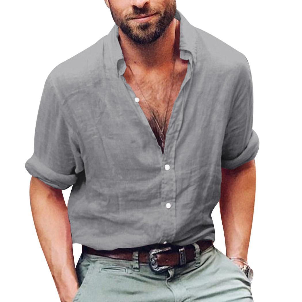 75e4a34f9a Camicia a maniche lunghe in cotone a maniche lunghe in lino tinta unita di  nuovo modo di estate Camicie casual larghe allentate con scollo a V Tops ...