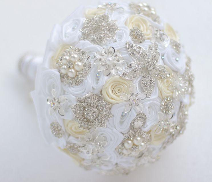 Broche personalizado de joyería de la boda de gama alta Rosa de marfil blanca Bridesmaid de novias con ramo