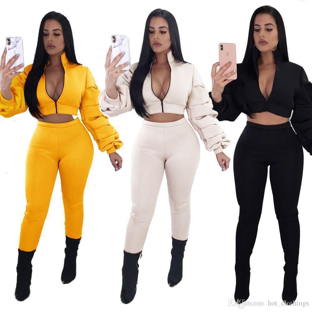 2019 Autumn Women Two Piece Set Tracksuit Outfits Sport Suits Woman 2 Piece Pants Puff Sleeve Hoody Sweatshirt Crop Top And Trouser